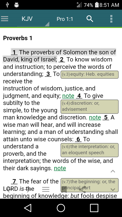 Proverbs 1 KJV notes
