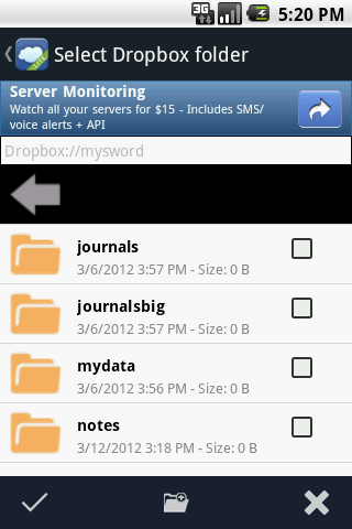 Dropbox folders for MySword
