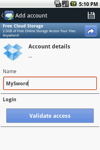 Foldersync Lite create account